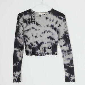 UO Truly Madly Deeply Tie-dye Gray Baby Tee  - M